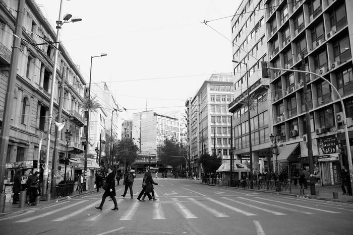 Το τέρμα της οδού Πανεπιστημίου προς την πλατεία Ομονοίας, 2012  πηγή: αρχείο Κωνσταντίνας Θεοδώρου