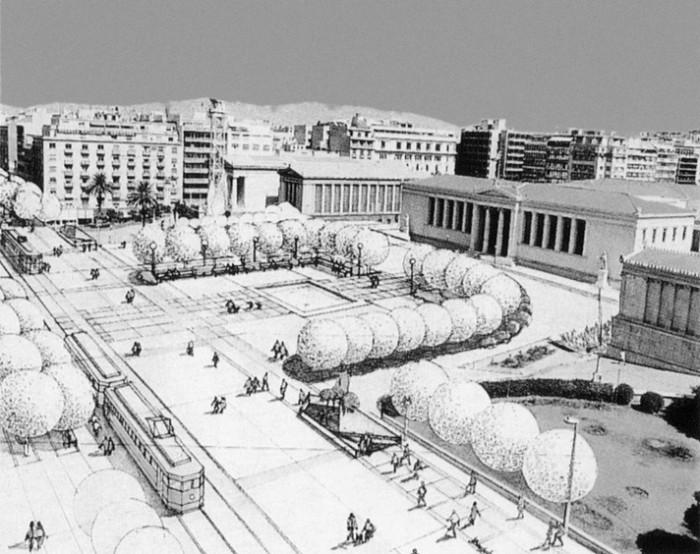 Η πρόταση για την πεζοδρόμηση της Πανεπιστημίου το 1983 πηγή: «Και περνούσανε τα τραμ...», 2003 (αρχείο Γ. Νάθενα)