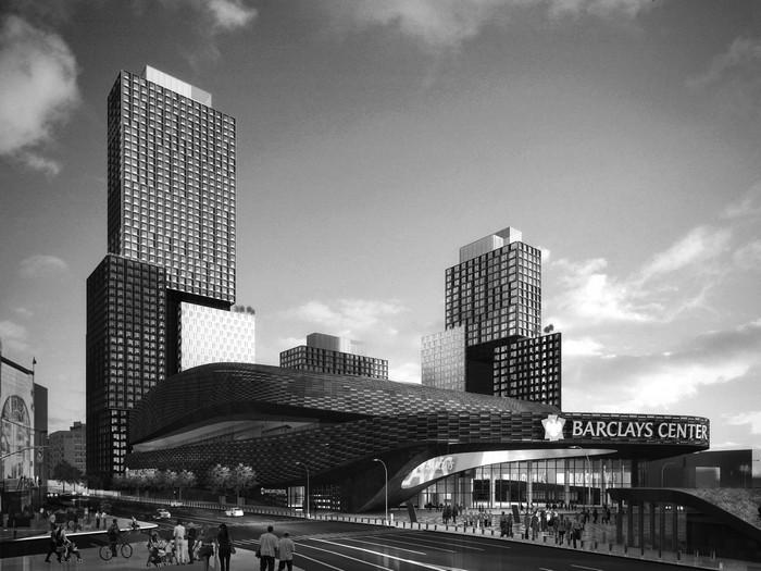 Τρισδιάστατο του Barclays Center και των συγκροτημάτων κατοικιών Β2 πηγή: newyork.cbslocal.com