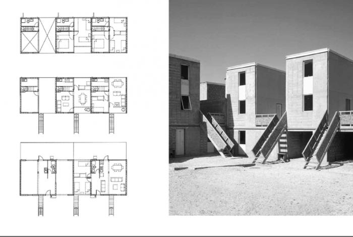 αριστερά: Κατόψεις διαφορετικών ορόφων με τις εν δυνάμει επεκτάσεις των κατοικιών δεξιά: Αρχική κατάσταση του συγκροτήματος