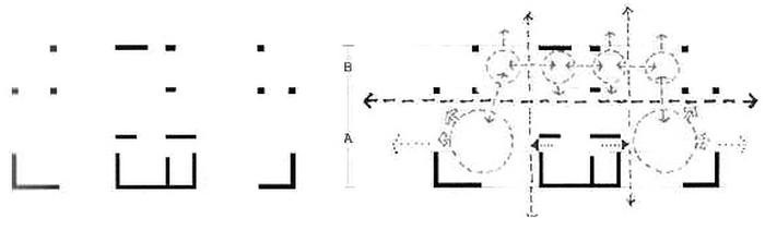 Συμμετρικός κι όμως ασύμμετρος (παρατηρήστε τη μεταμόρφωση  των συμπαγών Γ σε τριάδες υποστηλωμάτων στην εξωτερική όψη  του κτηρίου) ρυθμικός σκελετός πολυκατοικίας του αρχιτέκτονα Γιώργου  Αγγελή (2012) στην οδό Δεινοκράτους, Αθήνα  πηγή: 1η Έκθεση Αρχιτεκτονικού Έργου στην Αττική