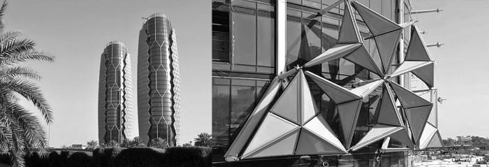 Eικ. 3α και 3β: Πύργοι Al Bahr στο Άμπου Ντάμπι. Γενική άποψη και λεπτομέρεια ηλιοπροστατευτικού συστήματος. Αρχιτεκτονική μελέτη: Aedas Architects Ltd  πηγή: www.aedas.com