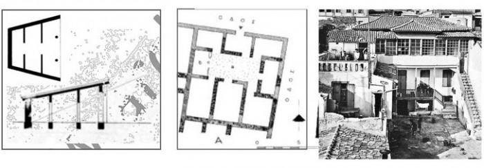 Αριστερά: Ηλιακό σπίτι του Σωκράτη  (σύγχρονη απεικόνιση του αρχιτέκτονα ακαδημαϊκού Γ. Π. Λάββα) Δεξιά: Λιακωτό σε αθηναϊκή κατοικία πηγή: Α. Κωνσταντινίδης, Τα παλιά αθηναϊκά σπίτια (1950)
