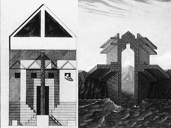 Αριστερά: Το σχέδιο του Franco Purini και της Laura Thermes Δεξιά: Το σχέδιο του Massimo Scolari, πηγή:www.domusweb.it