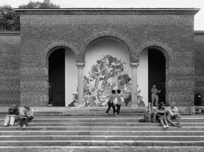Η είσοδος του ελληνικού περιπτέρου, με την έκθεση «Made in Athens»