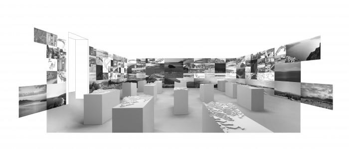 Τρισδιάστατη απεικόνιση της έκθεσης στο ελληνικό περίπετρο, πηγή: Γιάννης Αίσωπος Αρχιτεκτονική